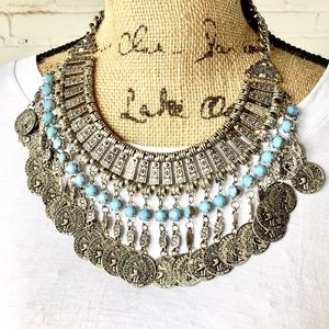 Boho Coin statement necklace. Silver and turquoise